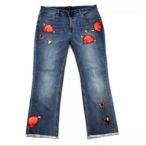 Who What Wear Hummingbird Flower Crop Jeans